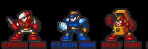 Mega Man 2 robot masters in Mega Man 7 style.
