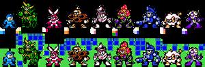 Assorted robot masters in 8-bit.