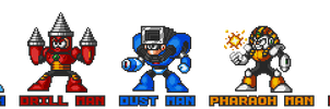 Mega Man 4 robot masters in Mega Man 7 style.