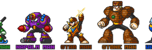 Mega Man 5 robot masters in Mega Man 7 style.