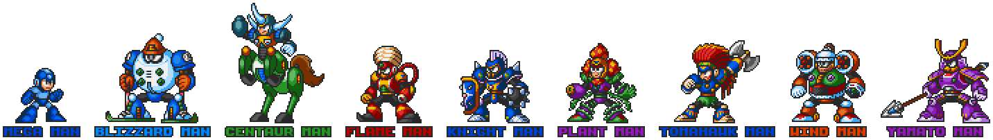 Mega Man 6 robot masters in Mega Man 7 style.