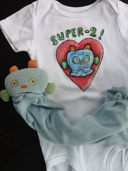 'Robot' lovey on a onsie.