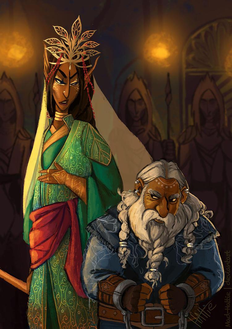 Thranduil Interrogates Thorin by Mad-Hattie
