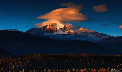 Sunrise Clouds Over Longs by kkart