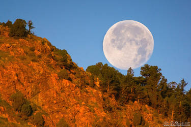 Honey Moonset Over Red Rocks by kkart