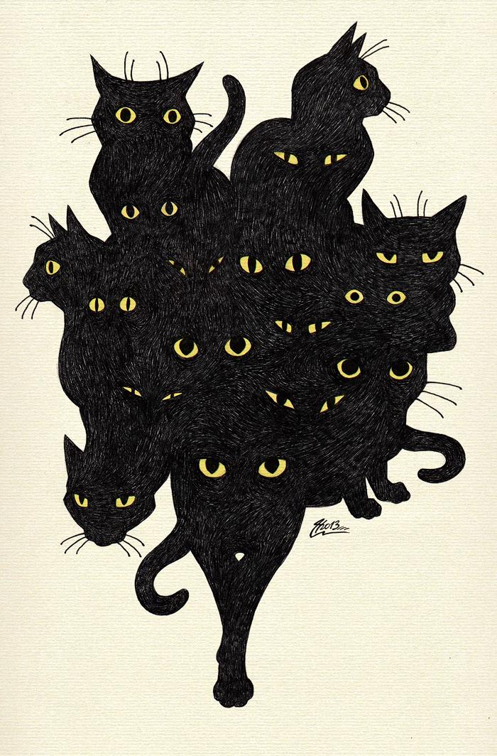 Cat Illustration Tumblr Black cat tango...