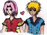 NaruSaku Colored Pencil Sketch