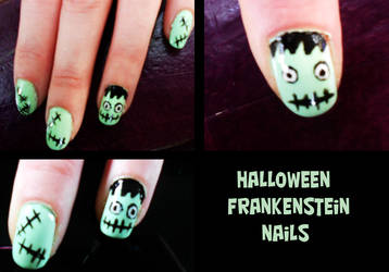 Frankenstein Halloween Nails by Toxic-Sway