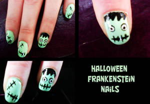 Frankenstein Halloween Nails