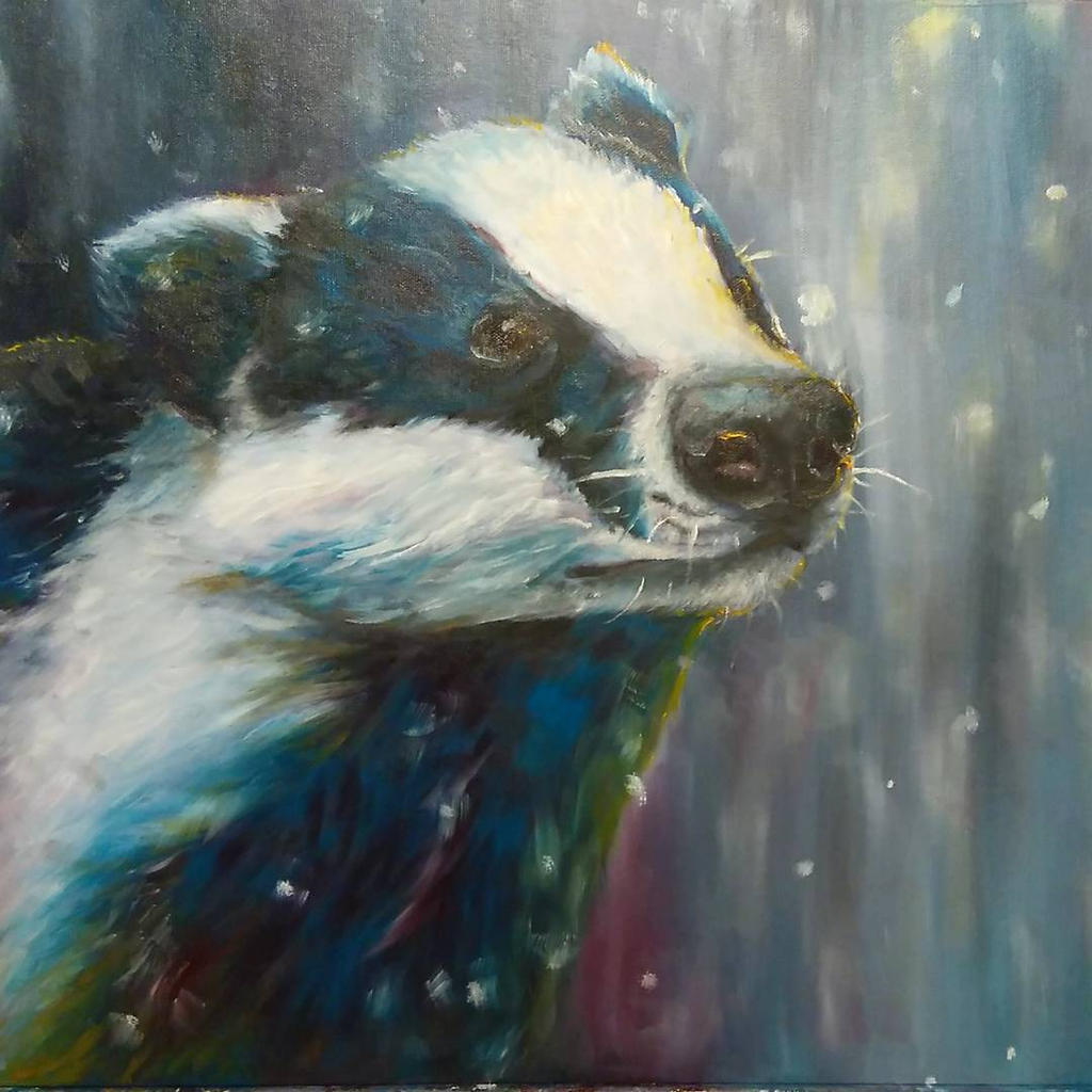 Snow badger by NightJinx