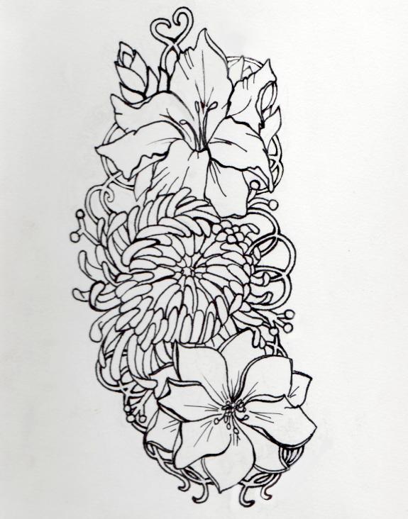 Gladiolus Chrysanthemum And Larkspur By TimberHenry On