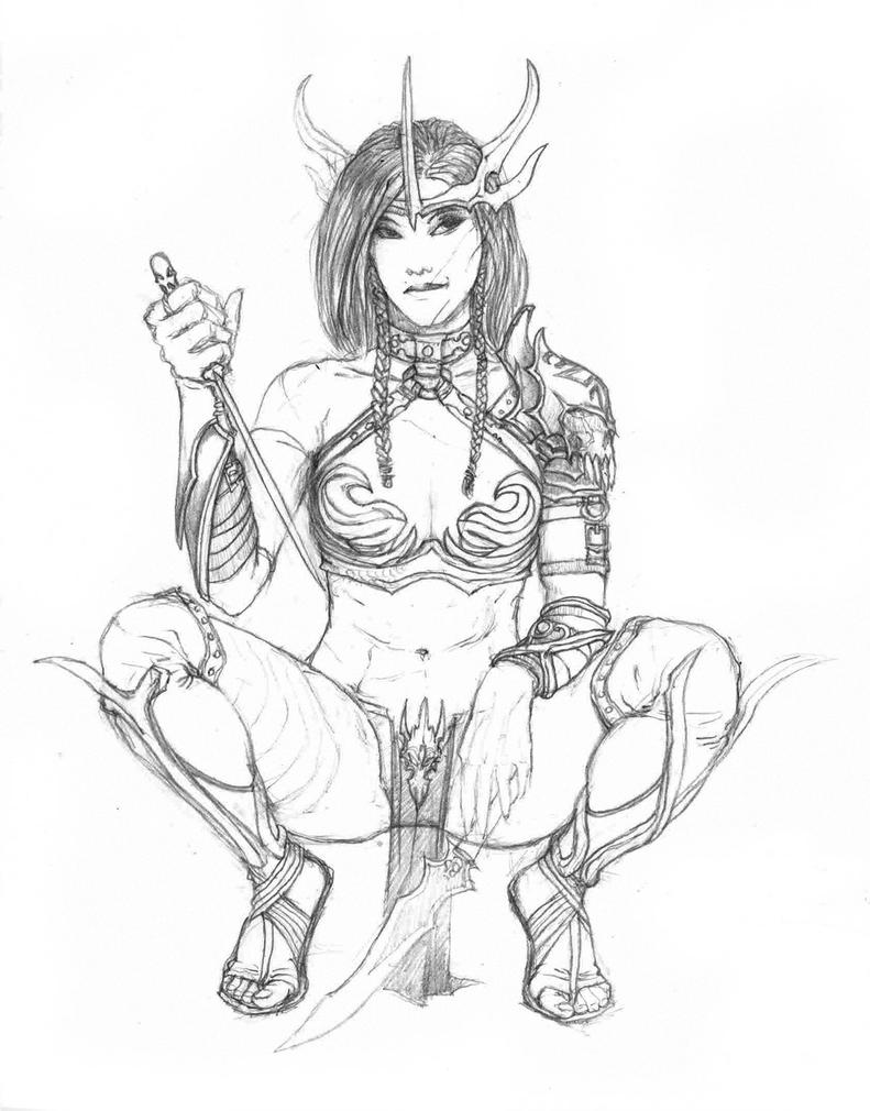 Nude elven girls pencile drawing erotic clip