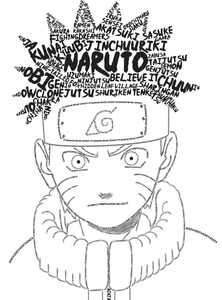 Anime Typography: Naruto by mythicdragon30
