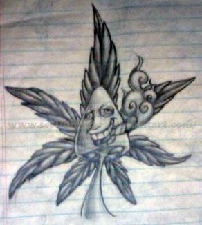 how to draw a cartoon weed leaf
