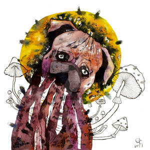 Trippy wall art watercolor pug