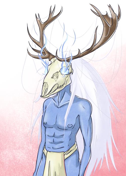 Blue skinned deer skull headed demon not wearing by Hizoku-no-Oni