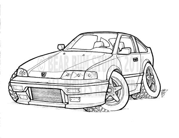 honda crx pen sketch by r0tti on deviantart