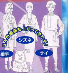 Road to Ninja: Tsunade, Shizune, Sai,  designs