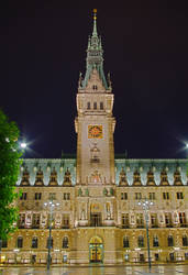 Hamburg Town Hall at night by m-eickhoelter