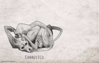 Inktober 2018 - 7 Exhausted by NekoLychee