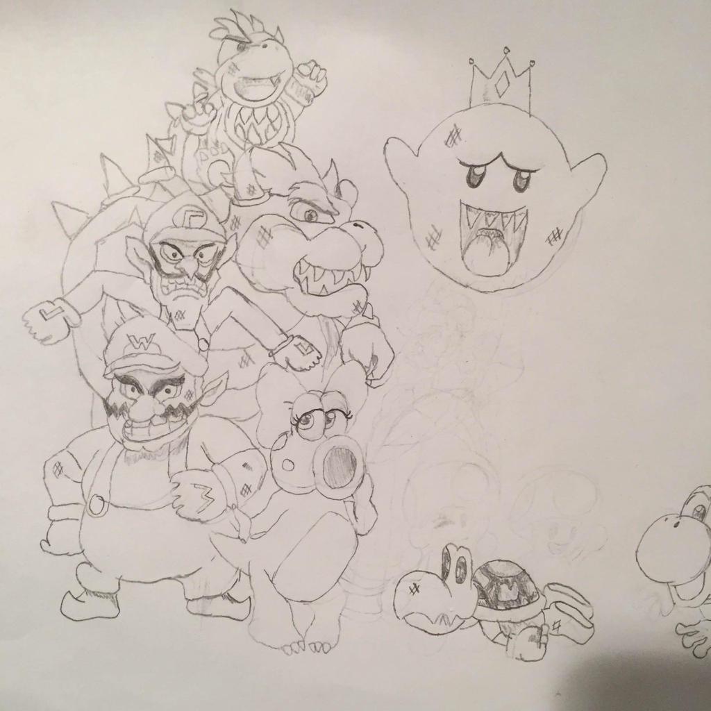 Mario Characters Pencil Sketch By Kshann On Deviantart