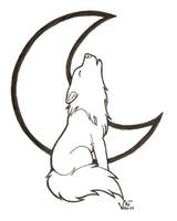 Chibi Howling Wolf Lineart by WildHusky318
