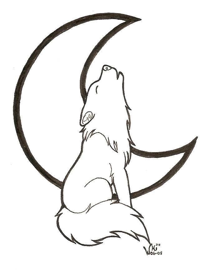 Wolf Howling Lineart
