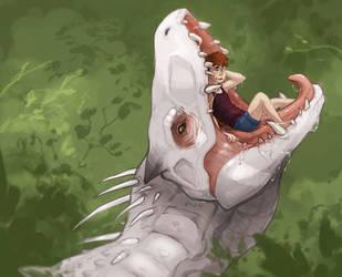 Smol boy, big rex, huge appetite. by VoraciousPanda