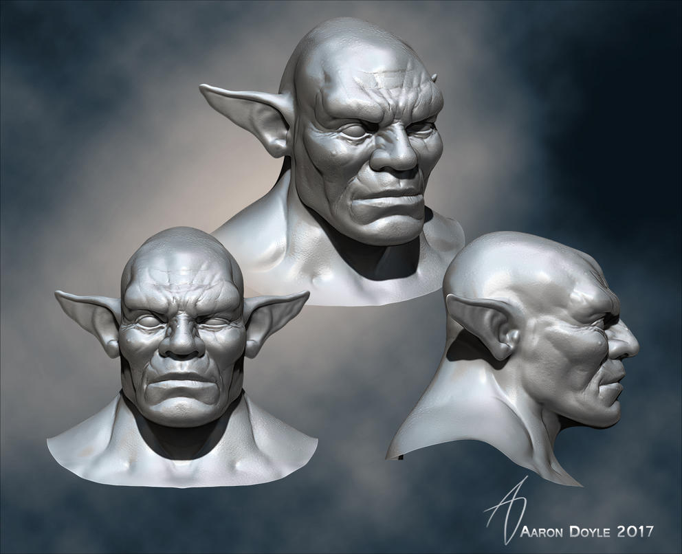 WIP orc bust by AaronDoyle