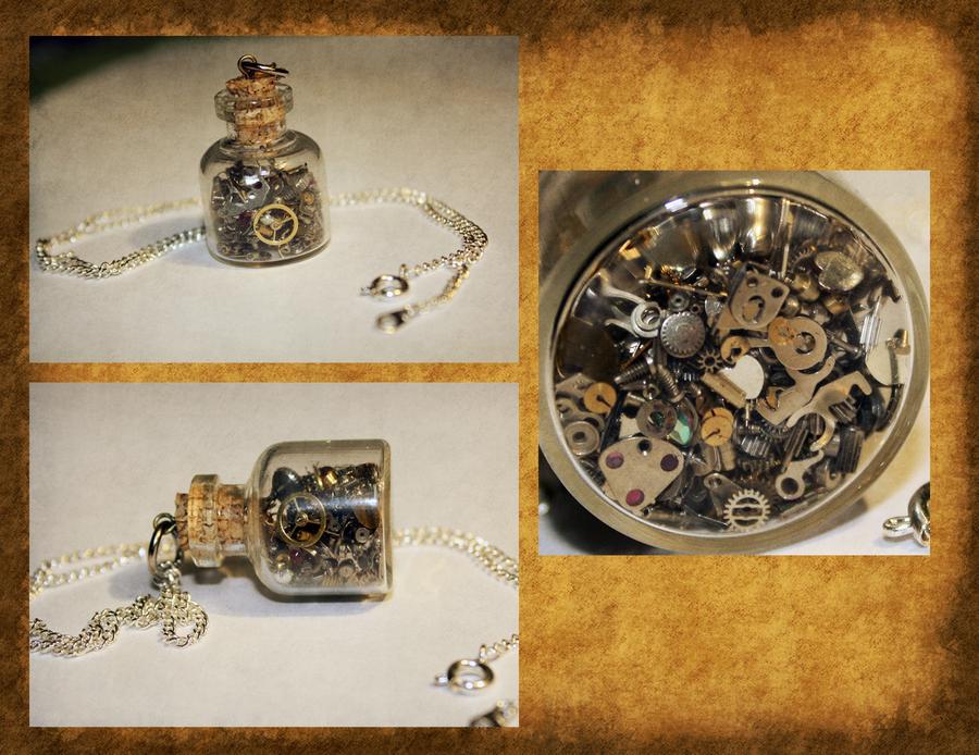 Glass Bottle Pendants Clockwork glass bottle necklace by timatae on deviantart clockwork glass bottle necklace by timatae audiocablefo