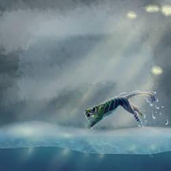 Haru Water Jumping by Raikeneko