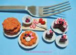Dollhouse Miniature Berry Waffles n Cake