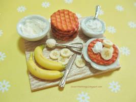 Dollhouse Miniature Fresh Cream Banana Waffles by ilovelittlethings