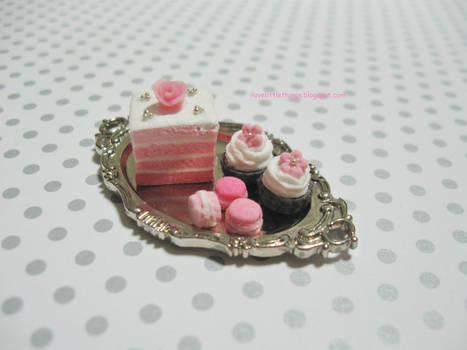 Dollhouse Miniature Pink Ombre Cake Dessert Tray