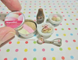 Dollhouse Miniature Neapolitan Ice Cream by ilovelittlethings