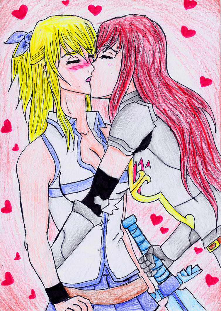 Lucy and erza knight s kiss by kintaroo on deviantart