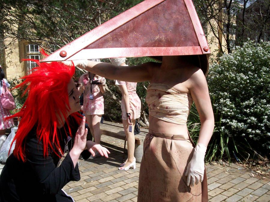 Pyramid Head say hello to Axel by Ishtarl-Demonic-Fox