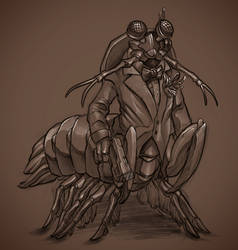 Midtone Sketch - Mantis Shrimp Humanoid Alien by cweinmanart