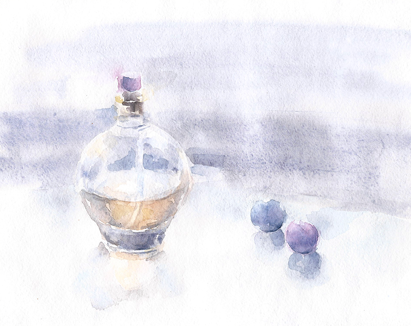 Watercolor sketch with perfume by lanavoro