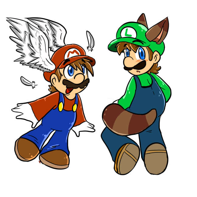 wing cap mario and Raccoon Luigi by MariobrosYaoiFan12
