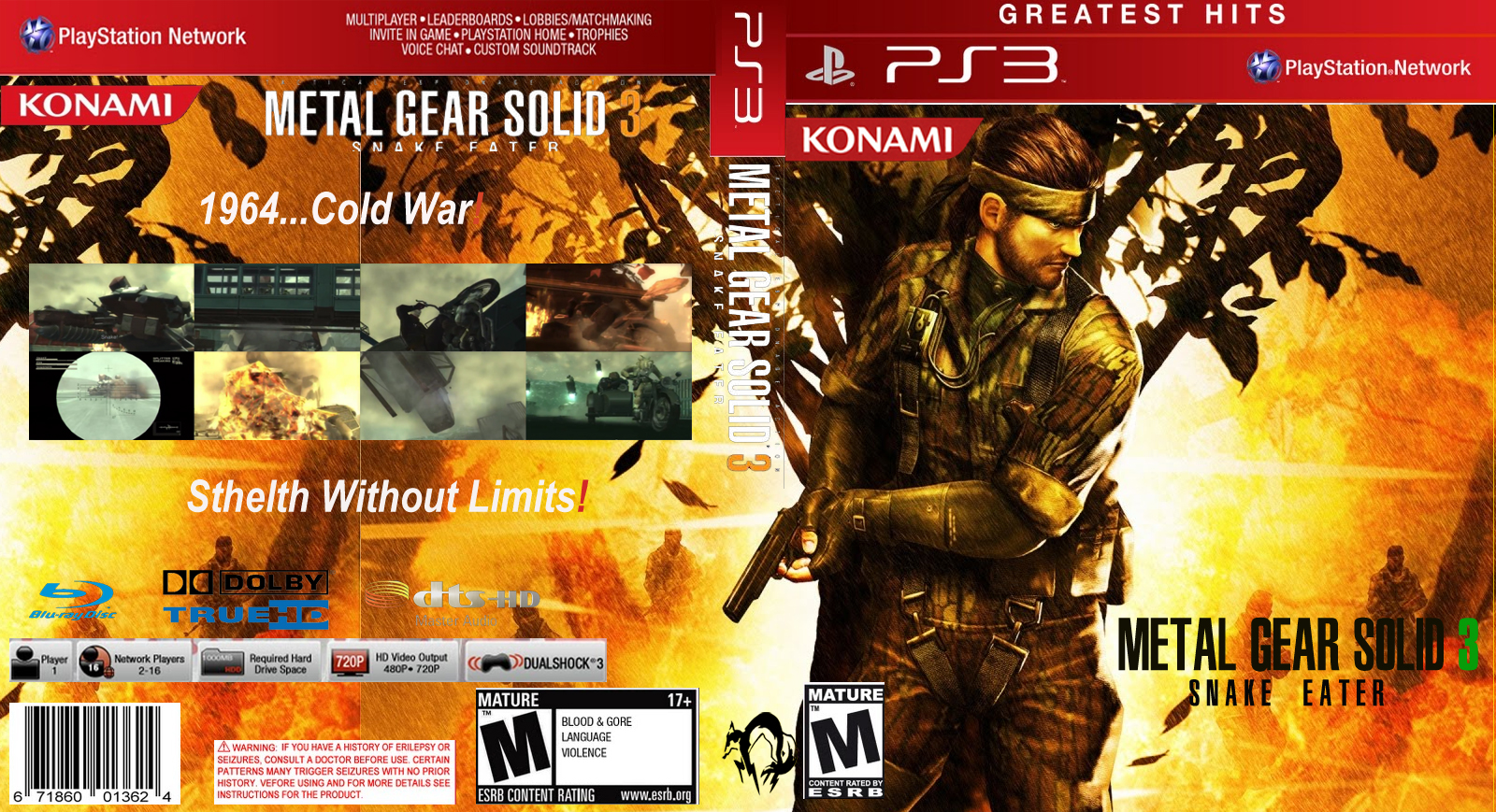 metal gear solid 3 ps3 cover greatest hitsus by outer
