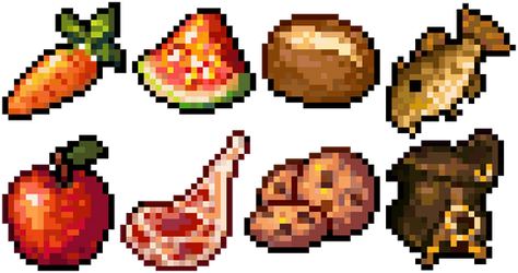 Pixel Food 1 - 24x24 by AnarchisedLUTE