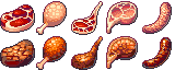 [Pixel Art Food] 32x32 Meats - Free Download
