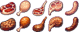 [Pixel Art Food] 32x32 Meats - Free Download by AnarchisedLUTE