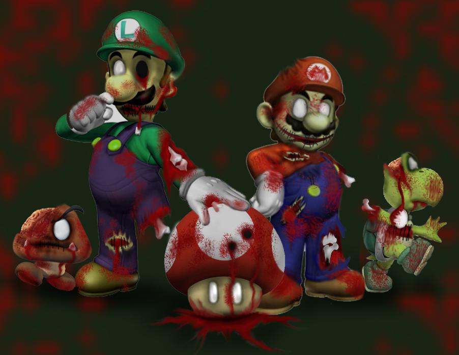 Super Zombie Mario by littlenatnatz101