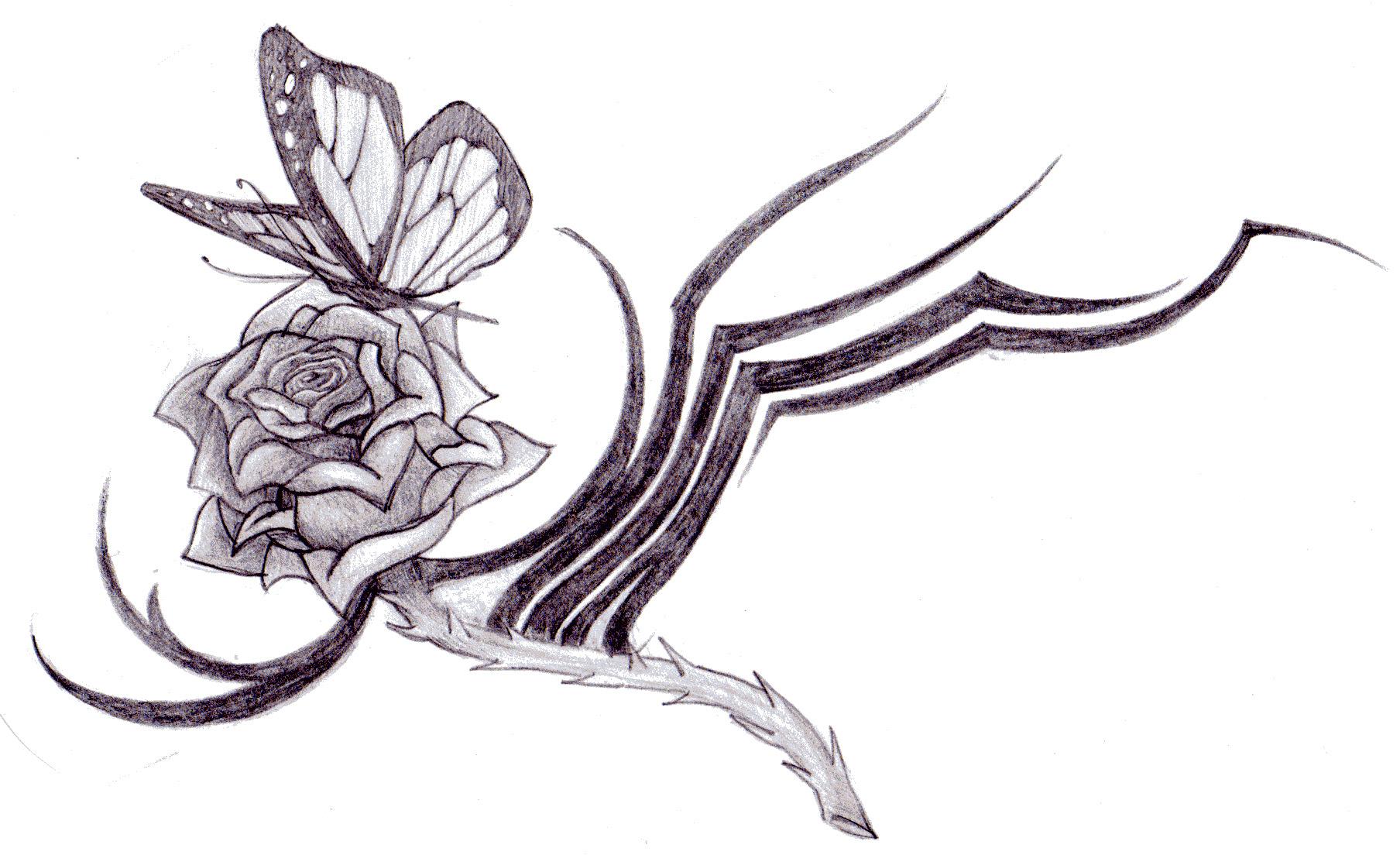 Butterfly Tribal Rose by littlenatnatz101