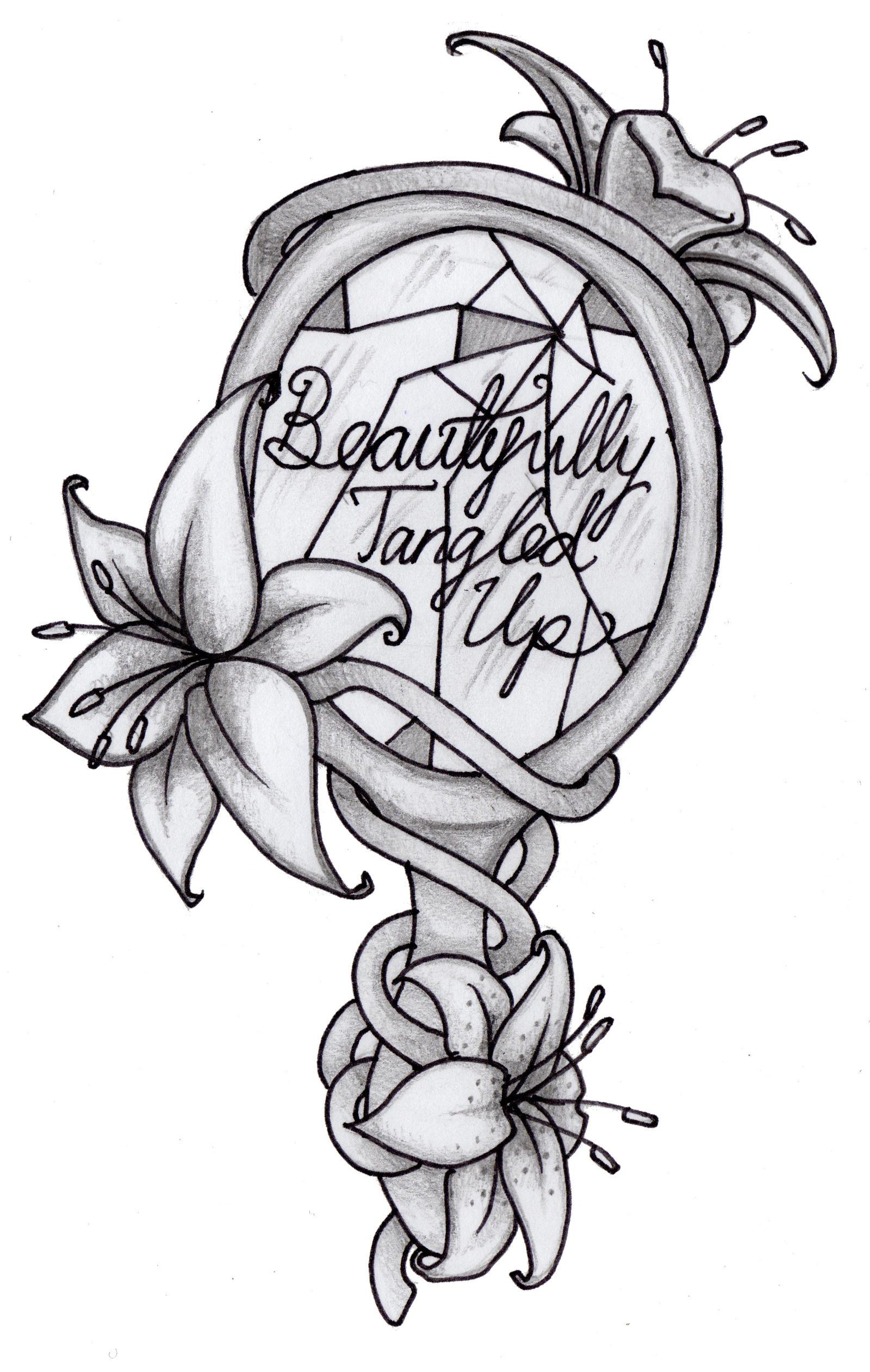 Lily And Mirror Tattoo BlackWhite By Littlenatnatz101
