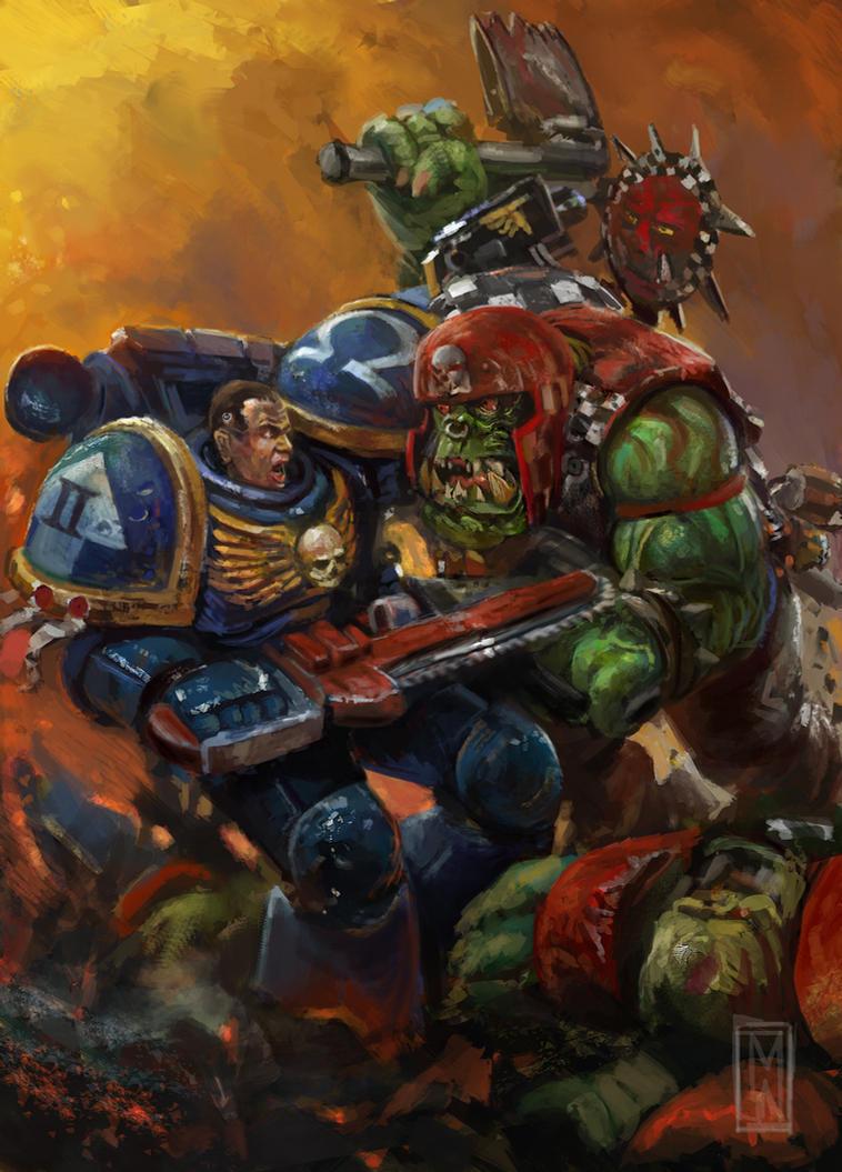 Ultramarine vs Ork by Mitchellnolte