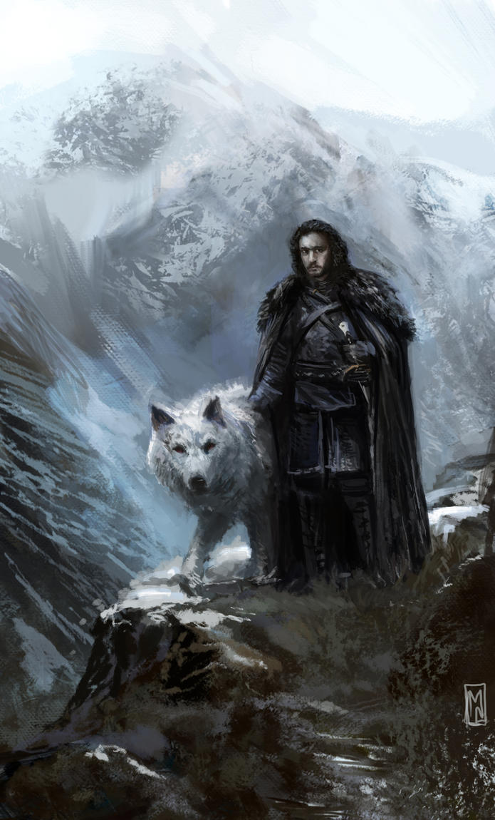 Jon Snow and Ghost by Mitchellnolte