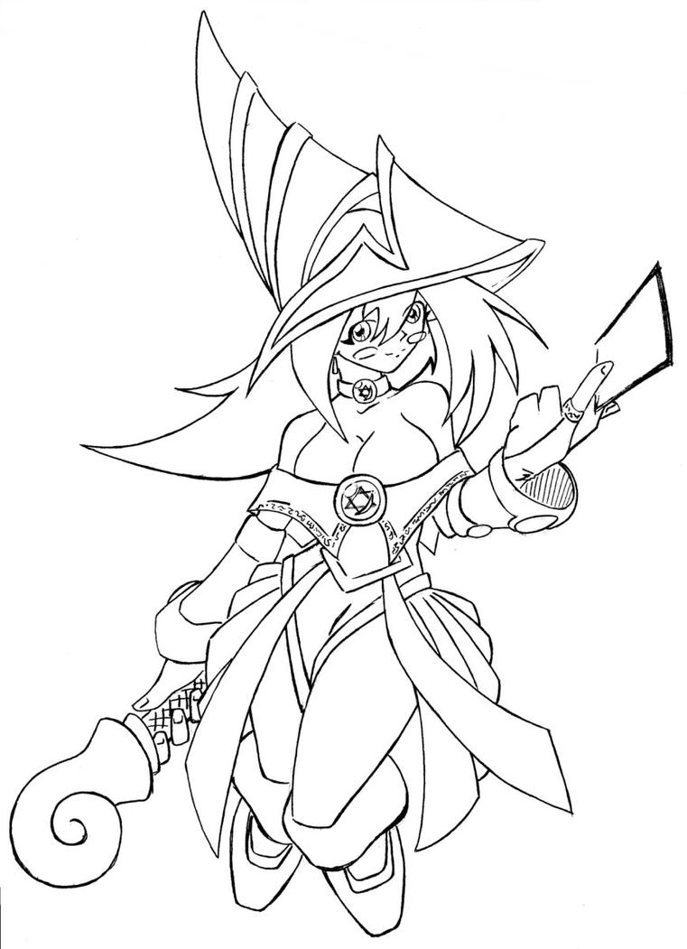 Line Art Là Gì : Dark magician girl lineart by n on deviantart